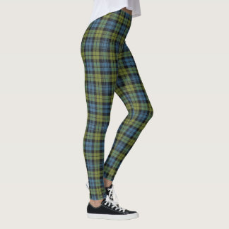 Scottish Campbell Blue and Green Tartan Plaid Leggings