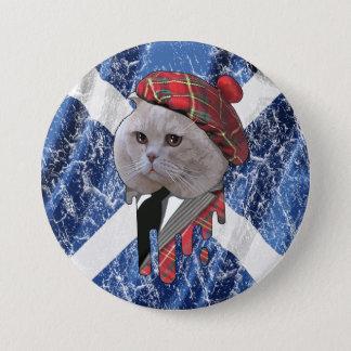 Scottish cat 7.5 cm round badge