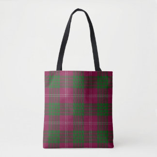 Scottish Clan Crawford Purple Green Tartan Plaid Tote Bag