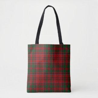 Scottish Clan Grant Red and Green Tartan Plaid Tote Bag