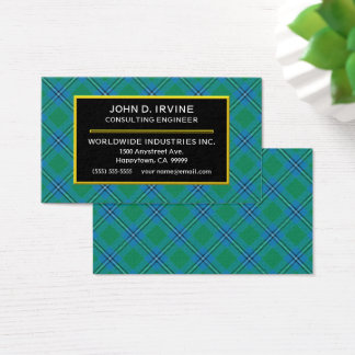 Scottish Clan Irvine Irwin Tartan Plaid Business Card
