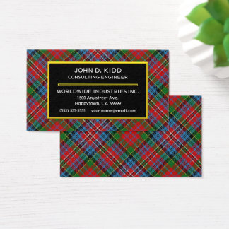 Scottish Clan Kidd Tartan Plaid Business Card