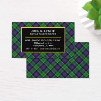 Scottish Clan Leslie Hunting Tartan Plaid Business Card
