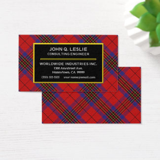 Scottish Clan Leslie Red Tartan Plaid Business Card