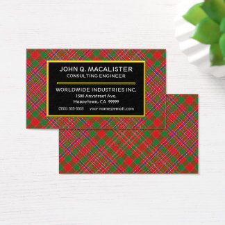 Scottish Clan MacAlister Tartan Plaid Business Card