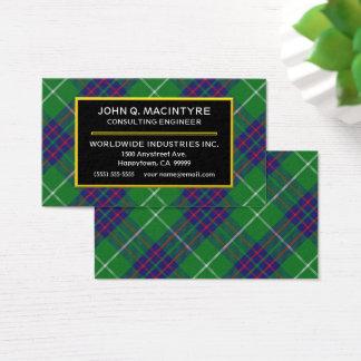 Scottish Clan MacIntyre Tartan Plaid Business Card