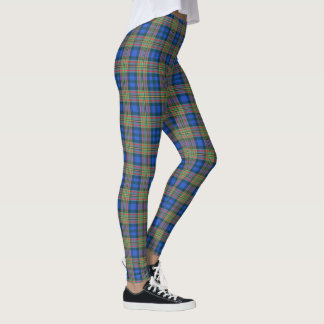 Scottish Clan MacLellan Blue and Green Tartan Leggings