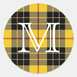 Scottish Clan MacLeod of Lewis Tartan Monogram Classic Round Sticker