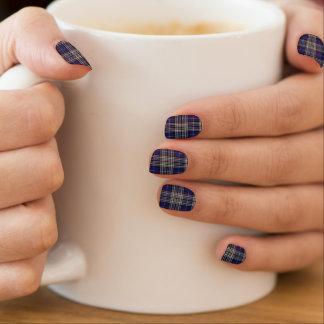 Scottish Clan Napier Blue and White Tartan Minx Nail Art