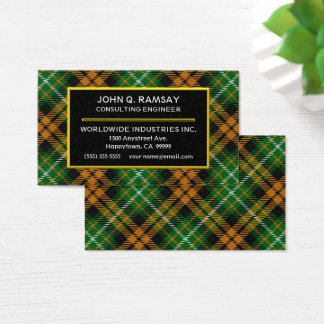 Scottish Clan Ramsay Orange Hunting Tartan Plaid Business Card