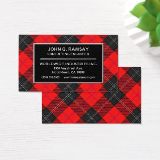 Scottish Clan Ramsay Red Tartan Plaid Business Card