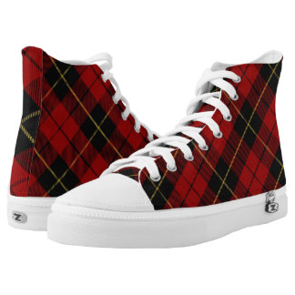 Scottish Clan Wallace Classic Red and Black Tartan High Tops