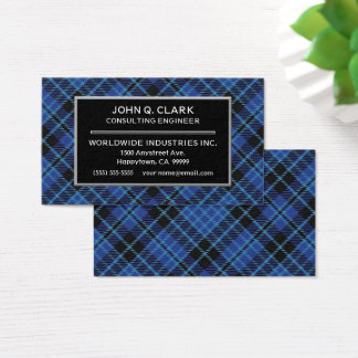 Scottish Clergy Blue Tartan Plaid Business Card