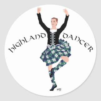 Scottish Dancer Highland Fling Classic Round Sticker