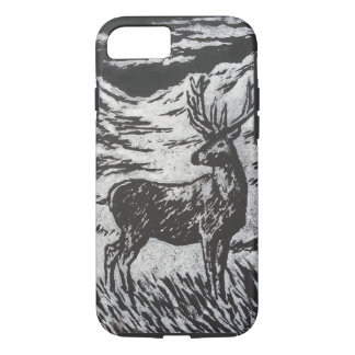 Scottish Deer in Snowy Glen Black and White Print iPhone 8/7 Case