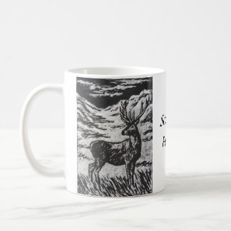 Scottish Deer in Snowy Glen Black & White Linocut Coffee Mug