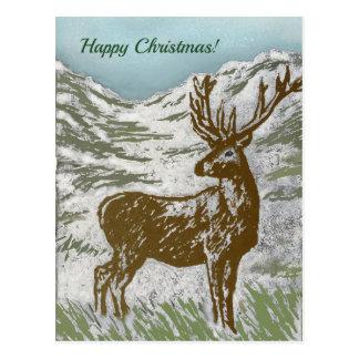 Scottish Deer in Snowy Glen Print Happy Christmas! Postcard