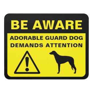 Scottish Deerhound Silhouette Funny Guard Dog Sign