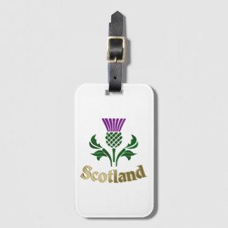 Scottish emblem thistle luggage tag