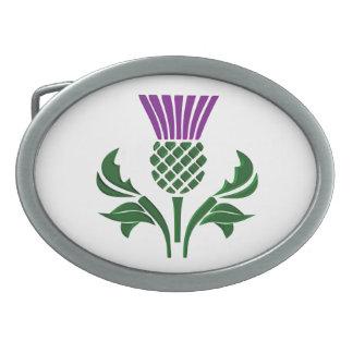 Scottish emblem thistle oval belt buckles