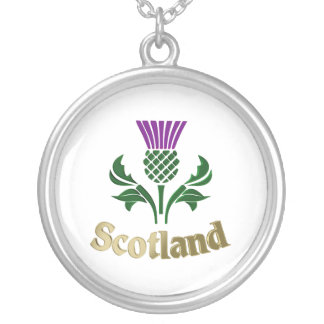 Scottish emblem thistle silver plated necklace