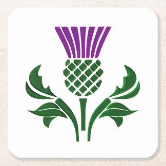 Scottish emblem thistle square paper coaster