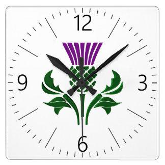 Scottish emblem thistle square wall clock