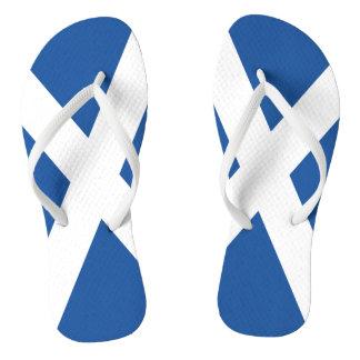 Scottish flag beach flip flops for men and women
