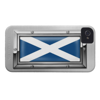 Scottish Flag in a Steel Frame Case-Mate iPhone 4 Case