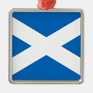 Scottish Flag of Scotland Saint Andrew's Cross Sal Silver-Colored Square Decoration