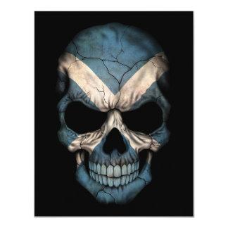Scottish Flag Skull on Black Invitation