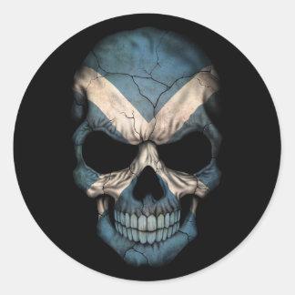 Scottish Flag Skull on Black Round Sticker