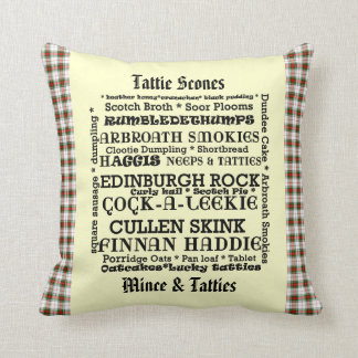 Scottish Food Menu Tartan Cushion
