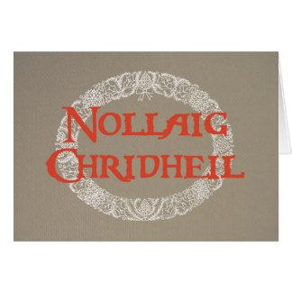 Scottish Gaelic White Christmas Wreath Red, Burlap Card