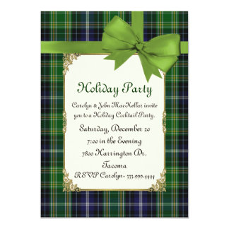 Scottish Green Tartan Plaid Custom Holiday Party Card