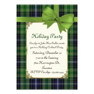 Scottish Green Tartan Plaid Custom Holiday Party Personalized Announcements