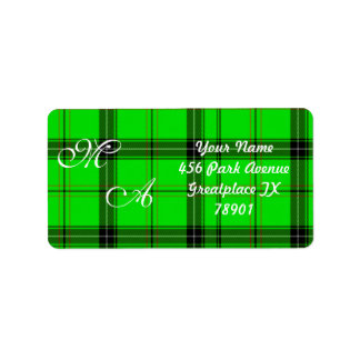 Scottish Green Tartan Plaid Fabric With Monogram Address Label