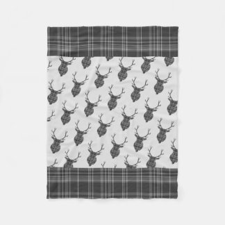 Scottish Grey Tartan Rustic Antler Stag Head Fleece Blanket