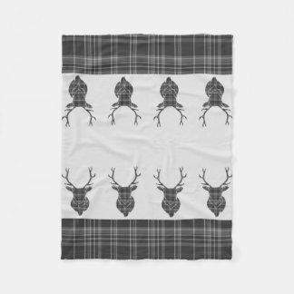 Scottish Grey Tartan Rustic Stag Head Antler Fleece Blanket