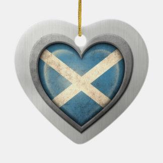Scottish Heart Flag Stainless Steel Effect Ceramic Heart Decoration