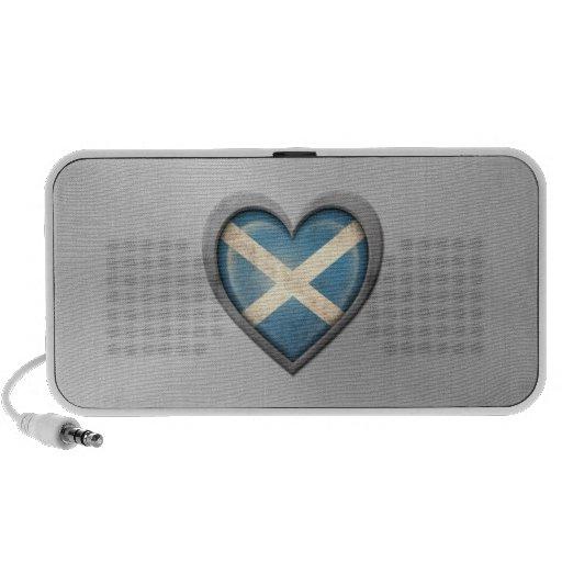 Scottish Heart Flag Stainless Steel Effect Travel Speakers