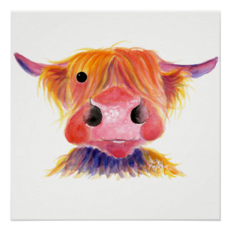 Scottish Highland Cow ' HeRbiE ' by Shirley MacArt Poster