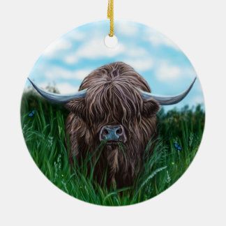 Scottish Highland Cow Painting Ceramic Ornament