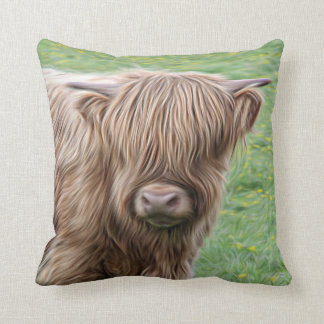Scottish Highland cow pillow