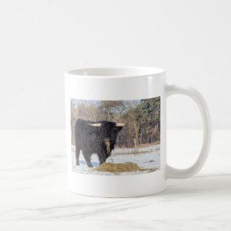 Scottish highlander bull eating hay in winter snow coffee mug