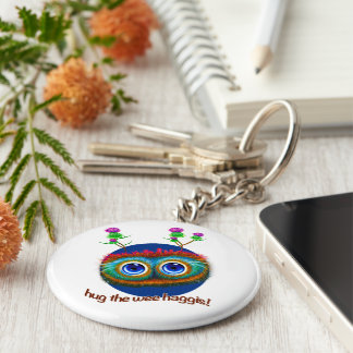 Scottish 'Hoots Toots Haggis' Basic Round Button Key Ring