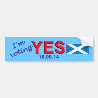 Scottish Independence Vote Yes Bumper Sticker