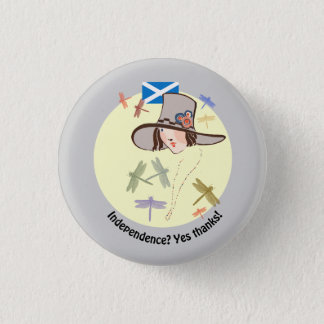 Scottish Independence Yes Thanks Dragonfly Girl 3 Cm Round Badge