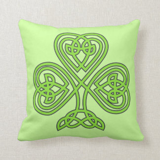 Scottish Irish Shamrock Celtic Green Knot Pattern Cushion