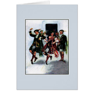 Scottish kilt dance book illustration card